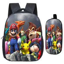 Śliczne Super Mario Smash Bros plecak przedszkole szkoła torby wzór drukowania plecak szkolny z piórnik ze wzorem z kreskówki tanie tanio NYLON Miękki uchwyt Tłoczenie Łukowaty pasek na ramię 2Pcs Sets Poliester Unisex Miękka printing Na co dzień NONE