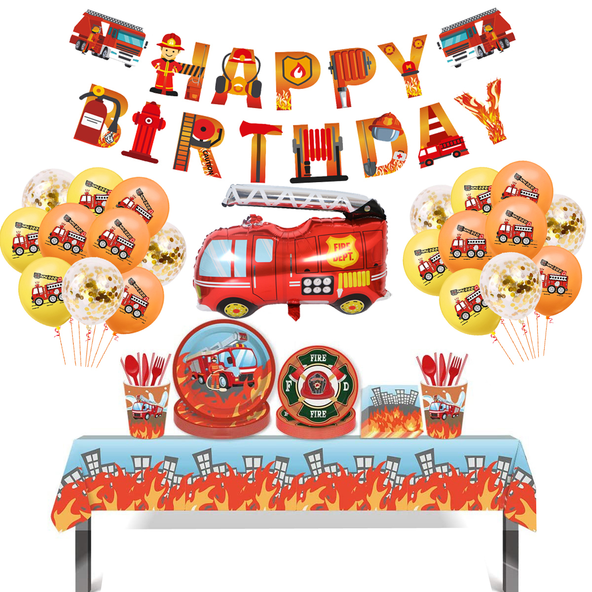Birthday Fireman Party Latex Balloons Kids Favors Party Gift Fire Truck Balloon Firefighter Baby Shower Party Decor Supplies