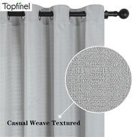 Ropa de cama cortinas para sala de estar dormitorio decoración de ventanas de lino tejido textura tratamientos blanco Cortina Nordic gris