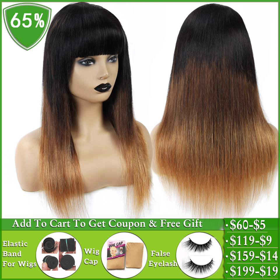 LEVITA T1b/4/30 Honey Blonde Ombre Brazilian Straight Human Hair Wig With Bangs Human Hair Wigs For Women Machine Made Non-Remy