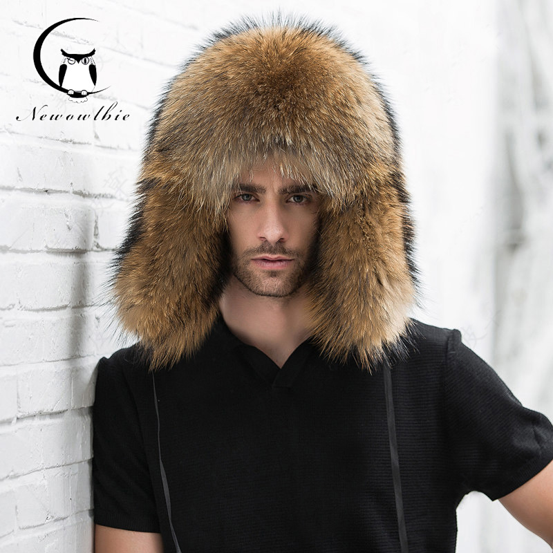 Natural Color Fur Hat Siberian Style Fur Hat  Raccoon Full Ushanka Hat For Middle-aged Cotton Cap Lei Feng Hat Winter Ha