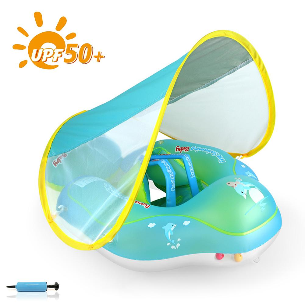Children's Swimming Ring Inflatable Thickened Environmental Protection PVC Baby Armpit Protection Ring With Sunshade
