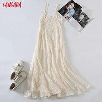 Tangada 2021 Women Beige Embroidery Romantic Long Dress Strap Adjust Females Maxi Dresses Vestidos 6H51 6
