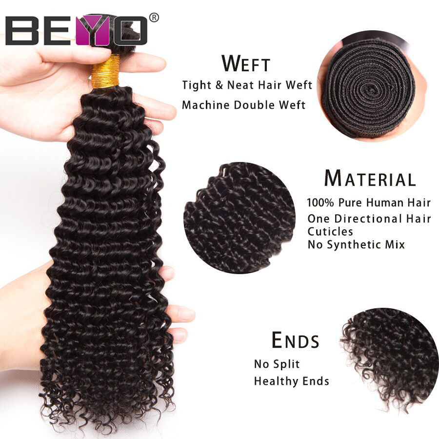 Kinky Curly Hair Bundles With Frontal Brazilian Hair Weave Bundles 100% Human Hair Bundles With Closure Non Remy Hair Beyo