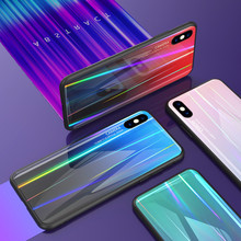 Glitter Tempered Glass Case For iPhone XR X 7 8 Plus Bling 6 6s 11 Pro XS MAX Gradient Aurora Laser Cover