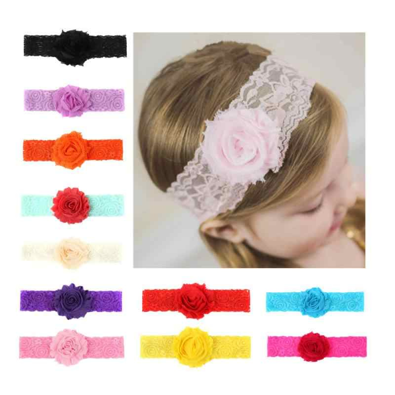 Baby Girl Hair Band Headwrap Kids Sun Flower Headband Solid Color Lace Headwear Princess style Baby Clothing Accessories Random