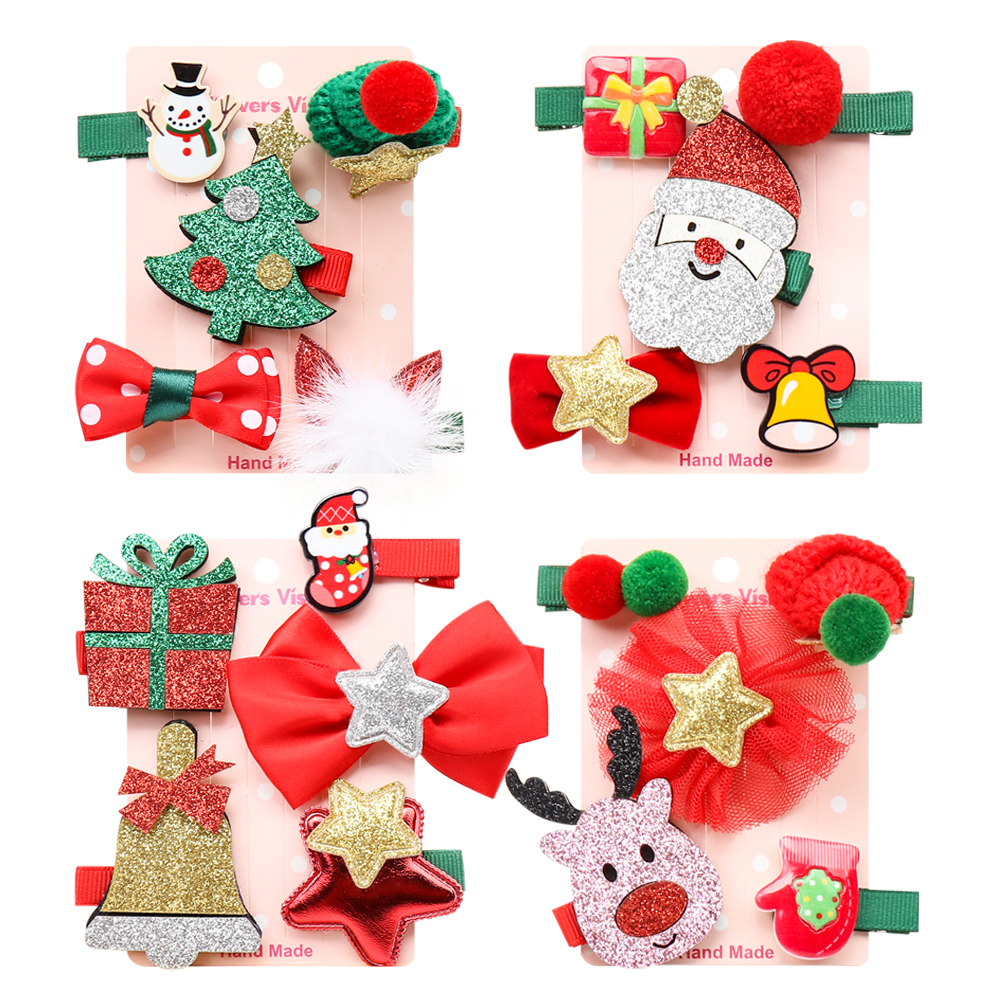 Oaoleer Hair Accessories 5 Pcs/Lot Christmas Party Barrettes For Girls Handmade Glitter Hairpins For Kids New Year Headdress
