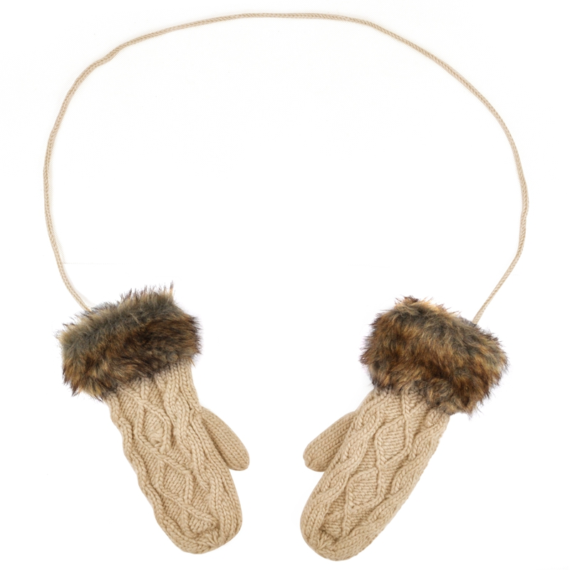 Warm Ladies Rag Wool Winter Snow Mittens Knitted Fleece Lined Fur Gloves-Beige