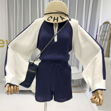 2019 autumn new item knitted 2 piece sets womens loose crop tops+high waist shorts korean style women suit fashion matching