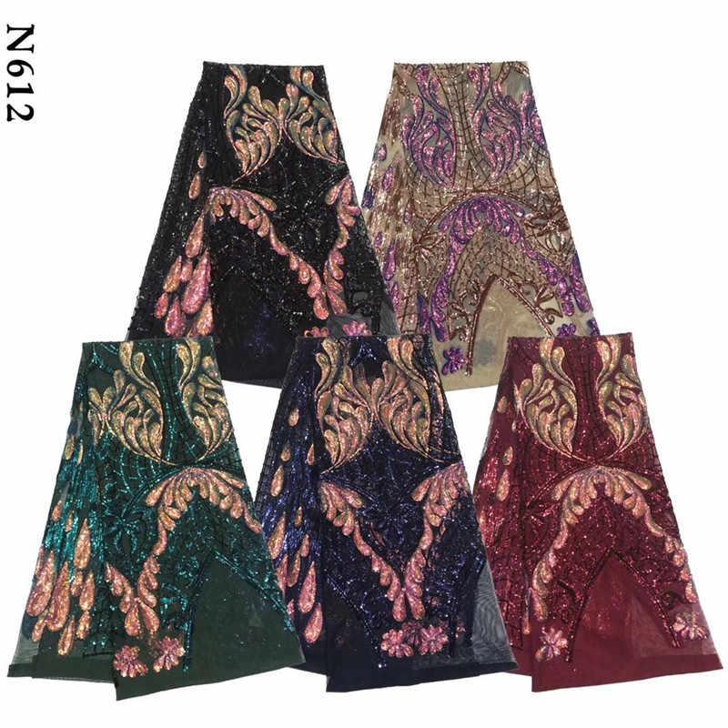 2020 zielona afrykańska koronkowa tkanina niebieskie jezioro koronka wysokiej jakości francuski siateczkowy materiał 3d cekiny nigeryjska szwajcarska koronka tkaniny do sukni