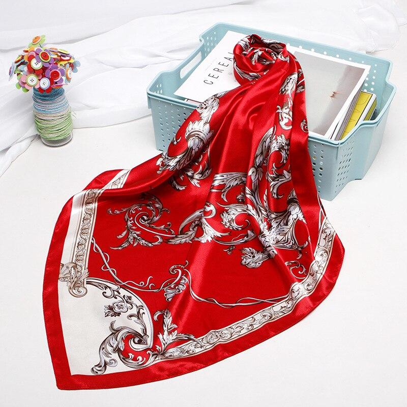 Square Scarves Women Chain Print Sunscreen Silk Scarf Female Satin Long Scarf Dual-use Shawl Beach Towel Shawl Color Printing