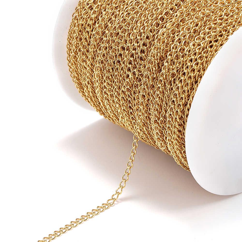 10 mètres en acier inoxydable collier chaînes ton argent 3x4mm pour collier Bracelet chaîne d'extension en vrac bijoux à bricoler soi-même faisant du matériel