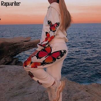 Rapwriter Casual Print Butterfly Women Bomber Jacket Spring Long Sleeve Zipper White Coat Black Hooded Female Pocket Outwear