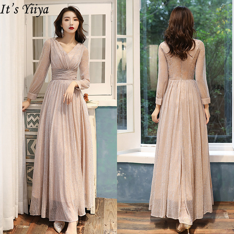 It's Yiiya Evening Dress Long Sleeve Shining Robe De Soiree LF192 V-neck Plus Size Formal Gown For Women Elegant Evening Dresses