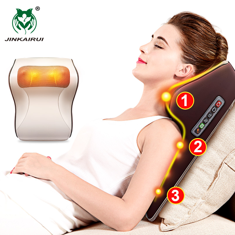3 In 1 Newest Massage Pillow With Car Home Duel Use Easy Carry Neck Back Shoulder Waist Body Massager Gift Relief Pain EU Plugs