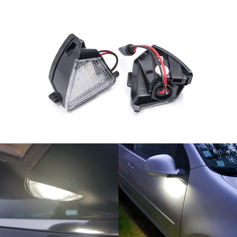 Fits For <font><b>VW</b></font> MK5 MKV Golf 5 Passat B6 CC EOS Rabbit Golf 5 6 Variant <font><b>Led</b></font> Under Mirror Side Puddle Lights <font><b>CANbus</b></font> No Error image