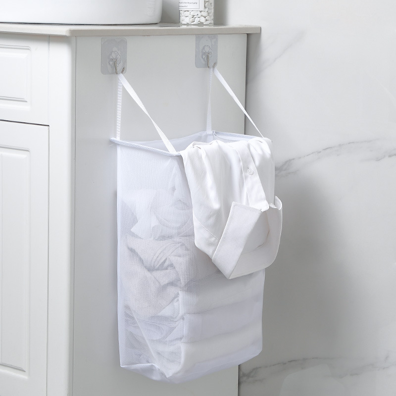 White Wall Hanging Hamper Bathroom Paste Dirty Clothes Storage Basket Bathroom Simple Laundry Basket Dirty Clothes CB4567/k