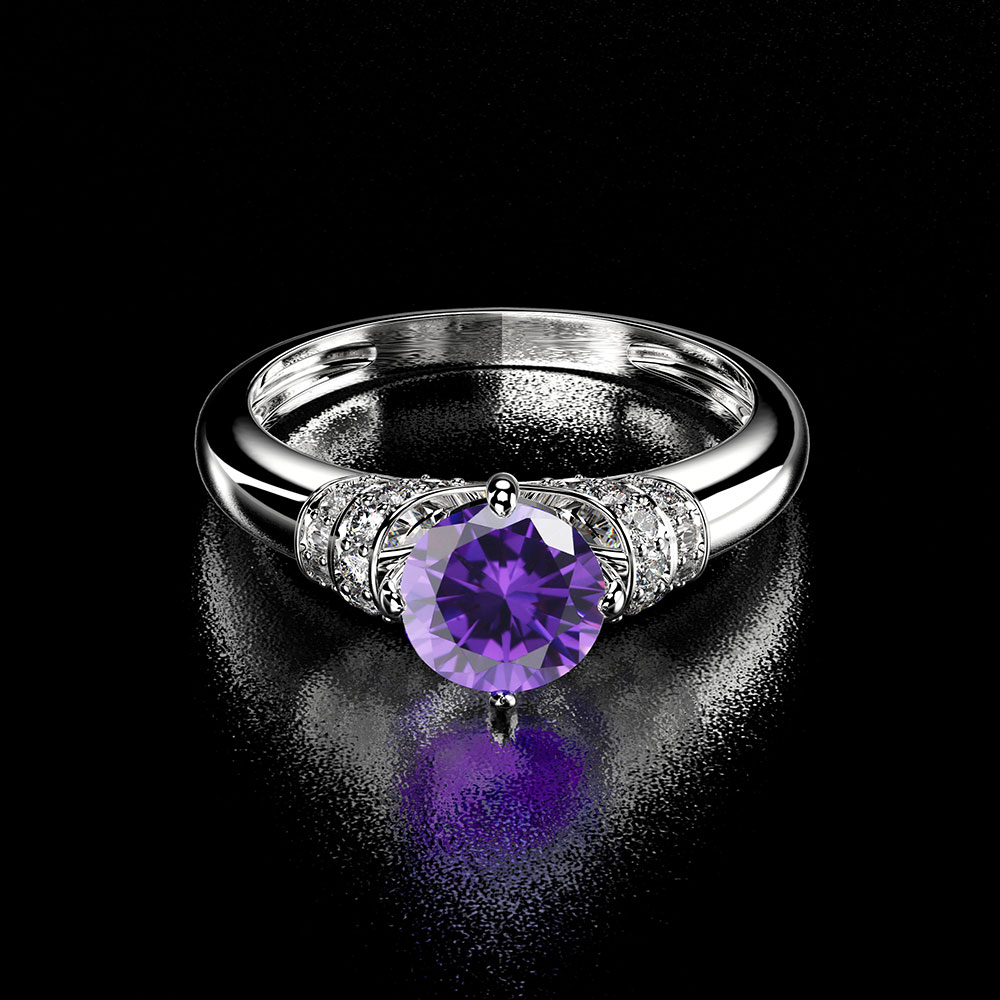 Eternity Diamond Rings For Women 925 Sterling Silver White Gold Gemstone Amethyst Ring Natural Moissanite Ladies Ring