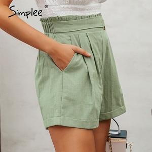 Image 2 - Simplee Casual women high waist shorts Solid green summer beach style holiday ladies shorts Pocket ring blet sash ruffles shorts
