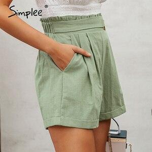 Image 2 - Simplee מקרית נשים גבוהה מותן מכנסיים מוצק ירוק קיץ חוף סגנון נופש גבירותיי מכנסיים קצרים כיס טבעת blet אבנט קפלי מכנסיים