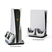 Soporte de refrigeración Vertical para juegos de PlayStation 5, PS5, Consola Digital con cargador doble para mandos, luces azules para DualSense 12
