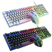 Gaming Keyboard RGB Backlit Keyboard USB Wired Gaming Mouse Set Keyboard Mouse Kit Gamer Ergonomic Mechanical Feel For PC Laptop