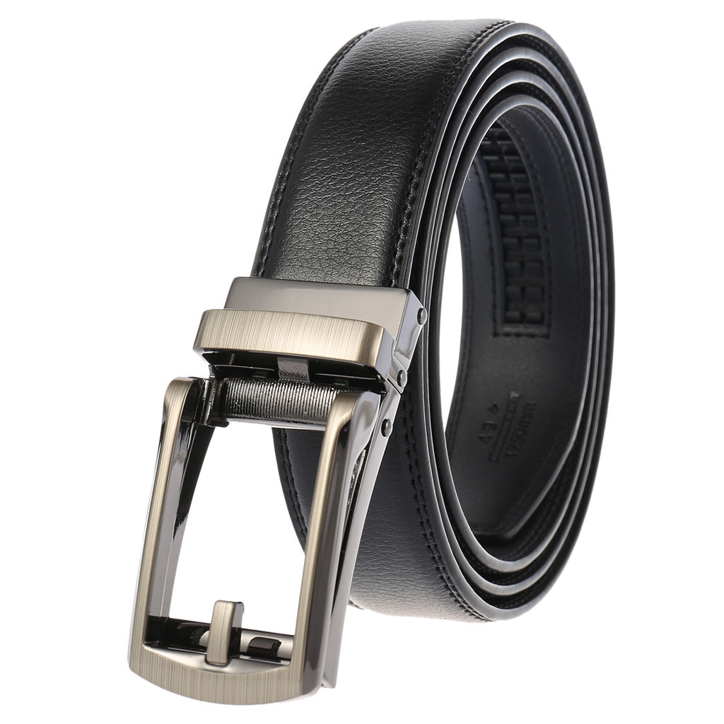 Adjustable Genuine Leather Belts Without Buckle For Men Brand Strap Vintage Jeans Cowskin Strap With One