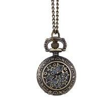 Vintage Bronz kuvars cep saati Steampunk kolye kolye hediye cep saati Retro yaratıcı büyük beş köşeli yıldız hollow #10