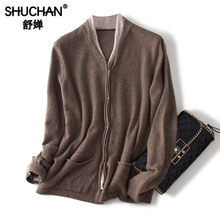 Shuchan Designer Women Sweater 2019 High Quality 60% Wool+10%Cashmere Women Cardigan V-Neck Warm Office Lady Tops Winter цена