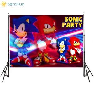 Image 1 - Sensfun Sonic Party Backdrop Cartoon Vinyl Photography Backgrounds Boy Birthday Party Backdrops Banner Poster Cake Table Decors
