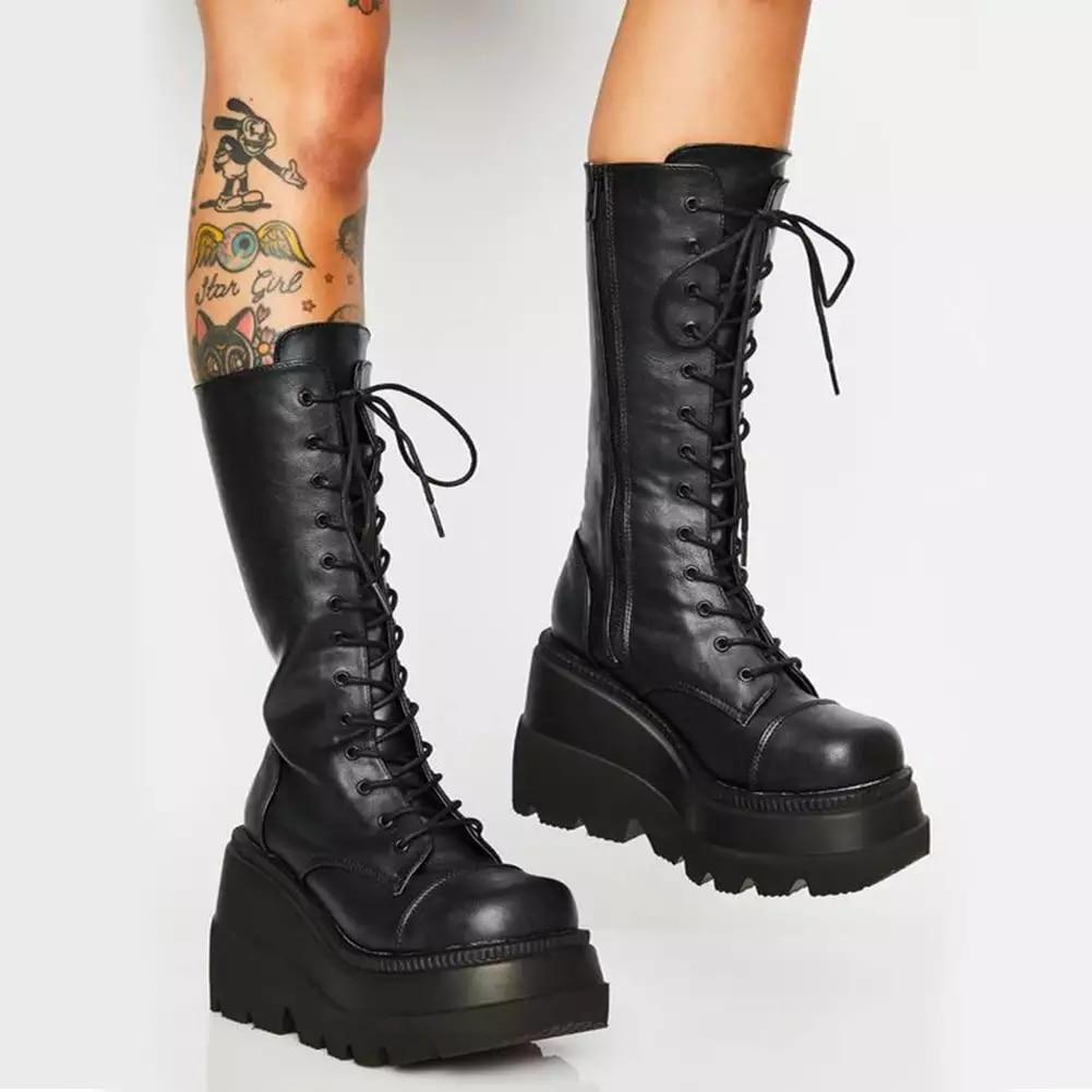 Platform Shoes  Boots Women Winter Shoes Genuine Leather Riding Boots Zipper Ladies Shoes Long Boots Autumn Black 2020