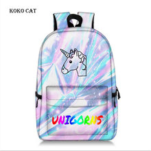 Koko cat Classic Unicorn Printed Ladies Backpack Teenagers Girls School Bags Casual Daily Women Shopping Daypack Mochila Escola
