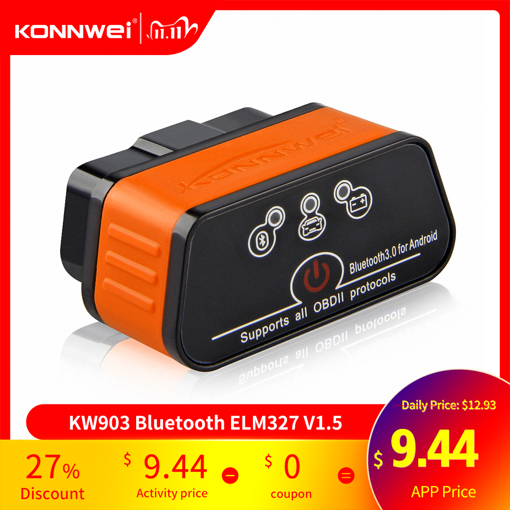ELM327 OBD2 Scanner Car Scanner Icar2 KONNWEI Bluetooth ELM 327 V 1 5 Car Diagnostic Tool  OBD 2 Scanner V1 5 Pic18f25k80 Chip