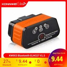 Elm327 obd2 scanner de carro icar2 konnwei bluetooth elm 327 v 1.5 ferramenta de diagnóstico do carro obd 2 scanner v1.5 pic18f25k80 chip