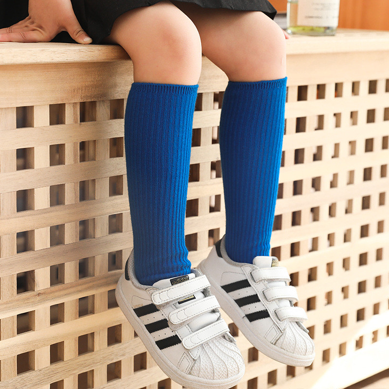 Candy Colors Children Socks Girls Boys Solid Striped Long Socks Spring Autumn Kids Clothes Accessories Length 33cm