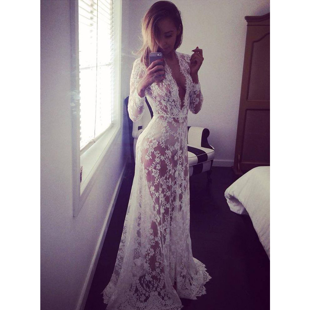 AliExpress Sexy Deep V-neck Long Sleeve Lace Transparent Tight Tailing Dress