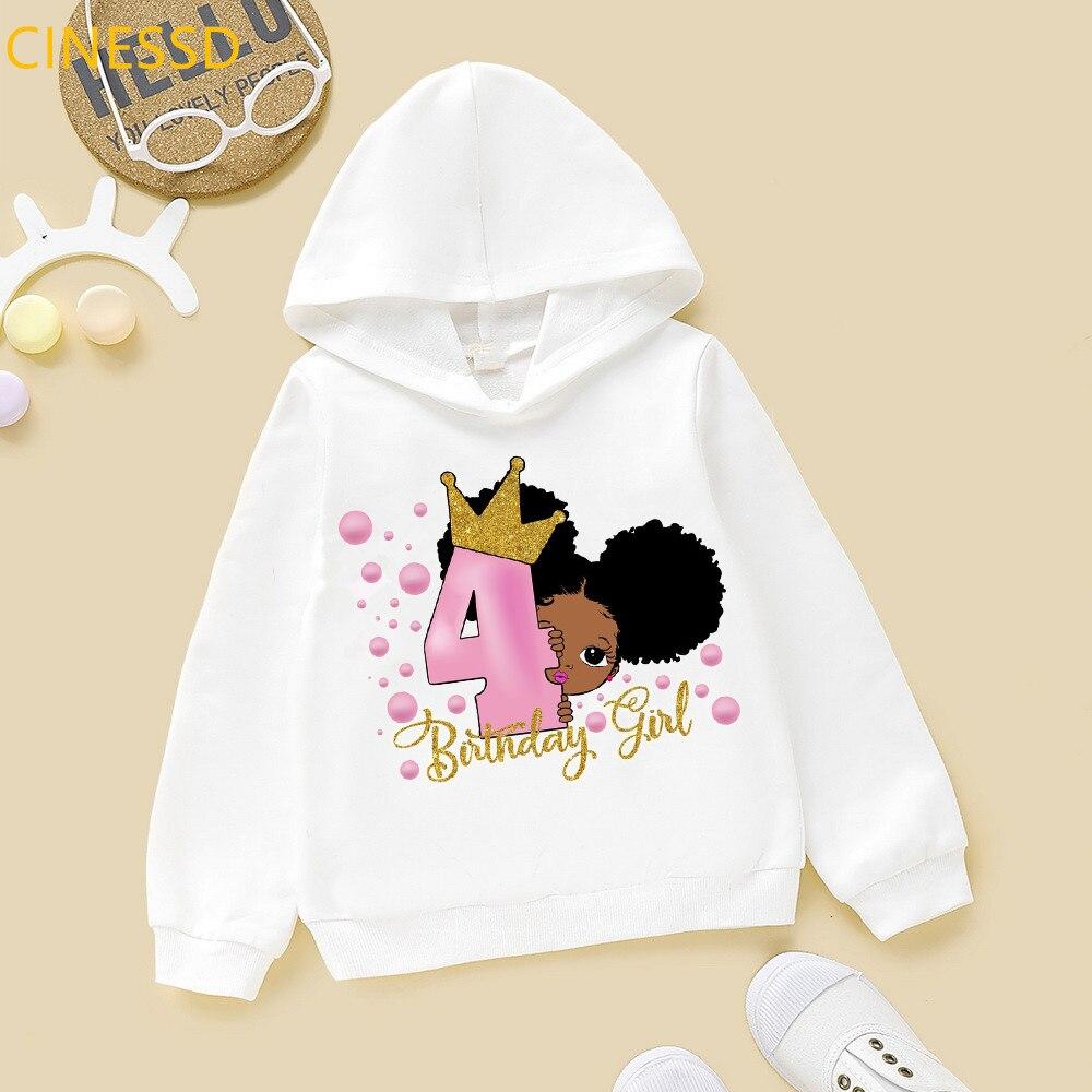 2020 número 2-8 bonito pouco melanina princesa impressão garoto feliz aniversário afro americano preto menina hoodies inverno camisola de veludo