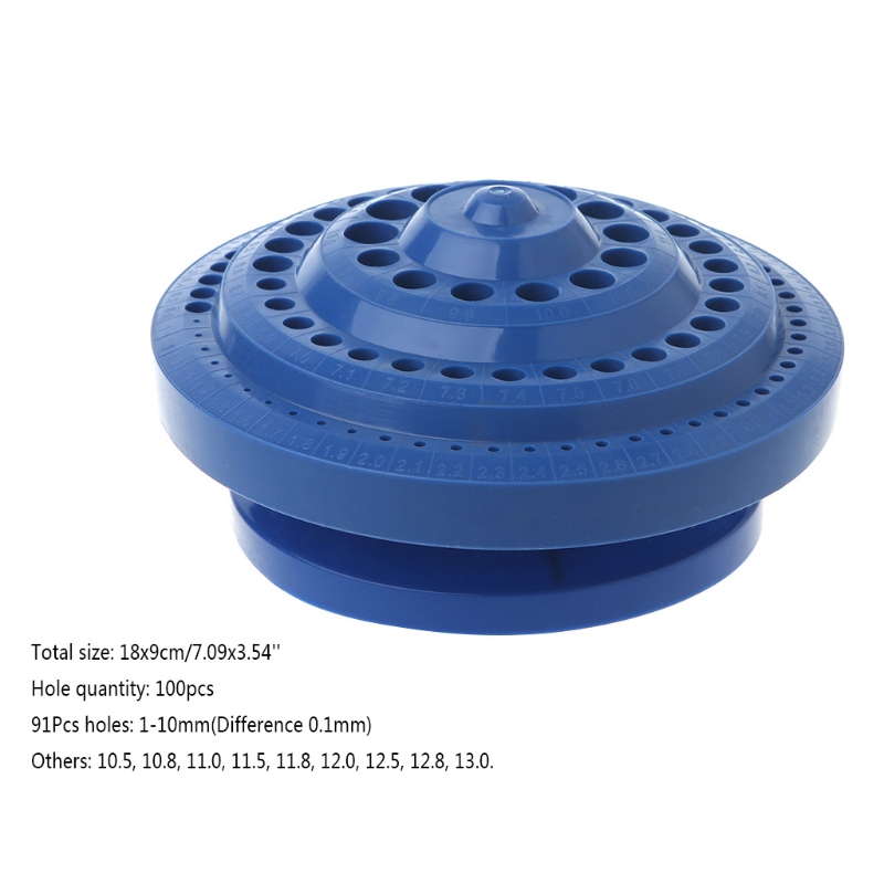 Drill Bit Storage Case Stand Round Shape Hard Plastic Organizer 100Pcs Hole Tool 95AA