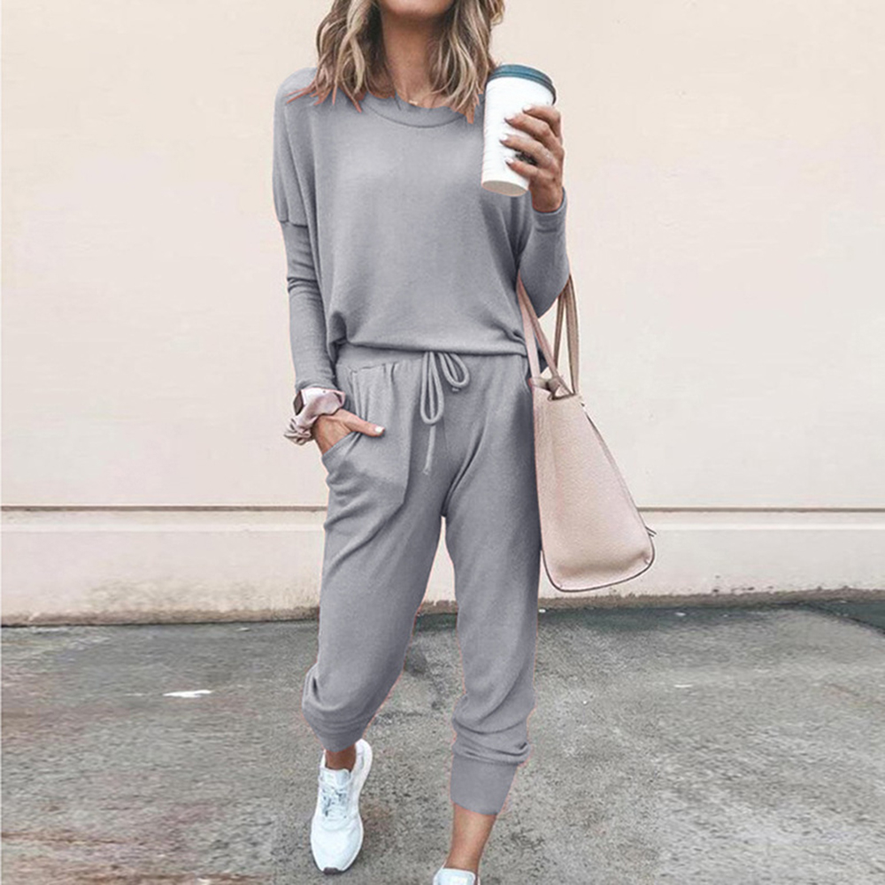 NIBESSER 2019 Fahsion Women Tracksuits Solid Color O-Neck T-shirt Tops And Drawstring Long Pants Ladies Jogging Sports Wear 2Pcs