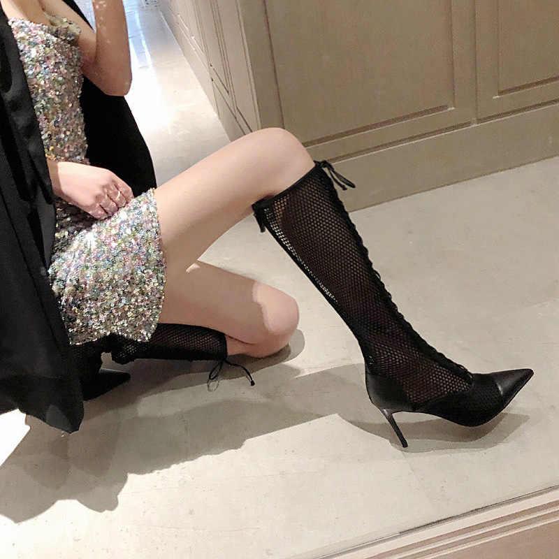 Siyah dantel kadınlar uzun yaz çizmeler çapraz askı yüksek topuklar bayanlar sandalet seksi sivri burun Botas Femmes Zapatos Mujer sürüngen