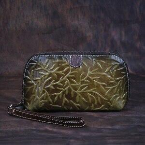 Image 4 - Johnature rétro luxe main portefeuille 2020 nouveau en cuir véritable à la main gaufrage femmes portefeuilles et sacs à main loisirs jour embrayages