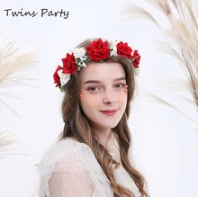 Twins Party Christmas Rose Floral Crown Adjustable Ribbon Wedding Women Hair Wreath Leave Flower Headband 2016 new women wedding rose flower wreath headband kids party floral garlands flower crown hair accessories bridal wedding party