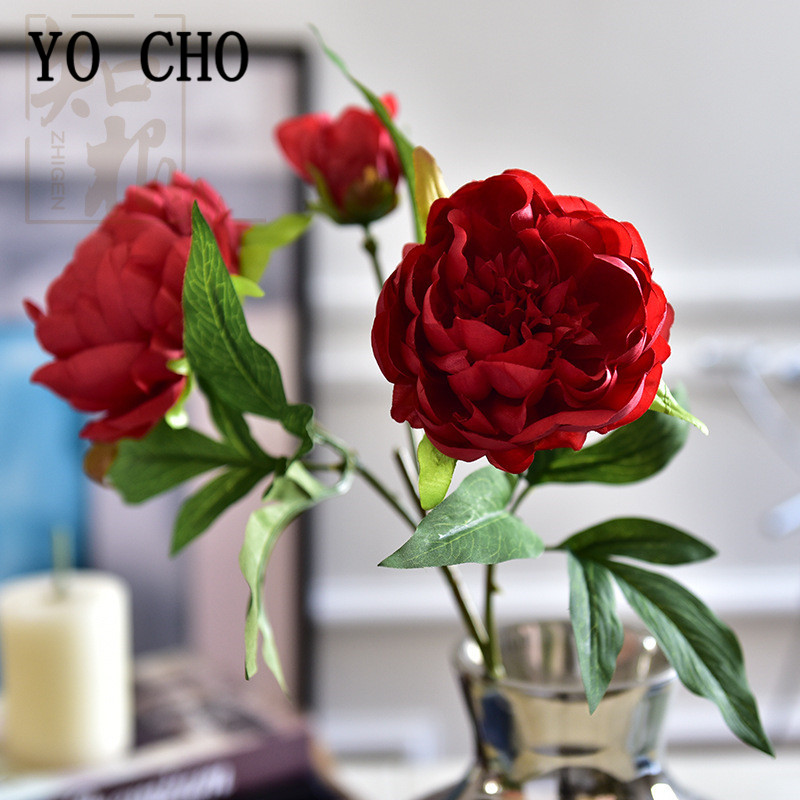 YO CHO 3 Heads Big Peonies Artificial Flowers Silk Bouquet Flores For Decor Home Wedding Fake Flowers Bride Holding Flowers Faux
