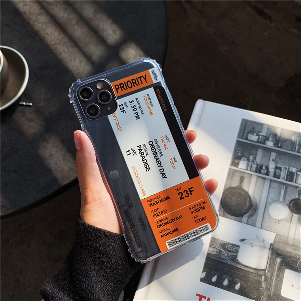 H12b24cf061b749be97746f6229ae15107 - New Trend Transparent Anti-drop ticket label Code Case For iPhone 11 Pro XS Max XR X 6 6S 7 8 Plus Soft TPU Protecte Back Cover
