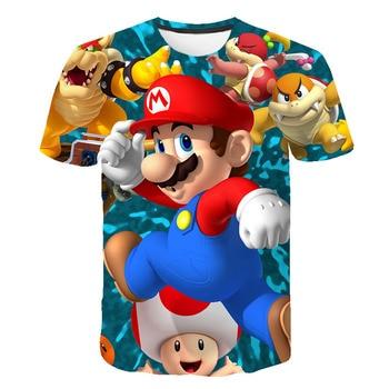 цена на Super Mario bros. T-shirt printed youth round neck short sleeve animation T-shirt cartoon monster children's T-shirt