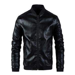 Image 1 - Chaqueta de cuero para hombre, abrigo con cuello de soporte, primavera y otoño, informal, ajustada, gran cremallera de PU, 8XL