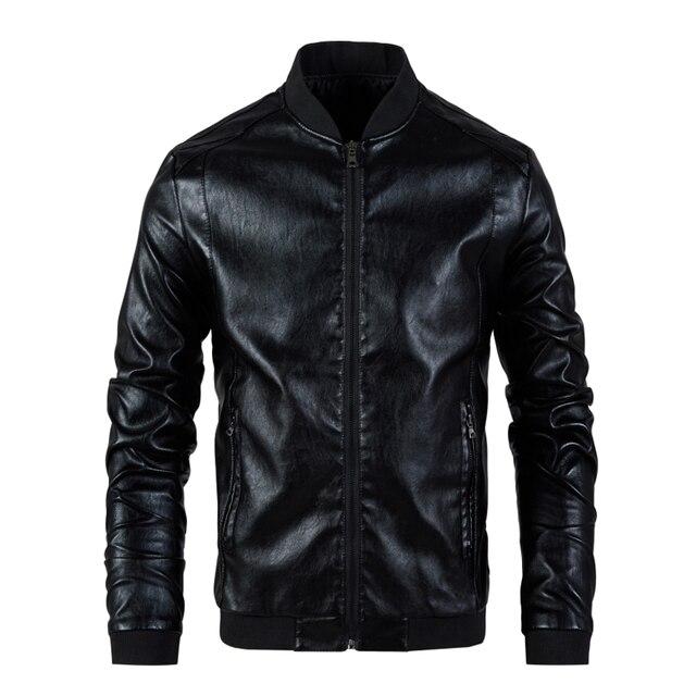Chaqueta de cuero para hombre, abrigo con cuello de soporte, primavera y otoño, informal, ajustada, gran cremallera de PU, 8XL