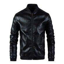 Jaqueta de couro masculina gola casaco primavera outono casual fino grande plutônio com zíper jaqueta 8xl masculino moto motociclista casacos outerwear