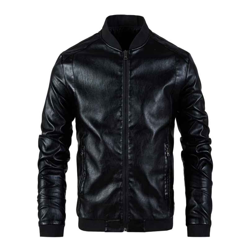 Men Leather Jacket Men's Stand Collar Coat Spring Autumn Casual Slim Big PU Zipper Jacket 8XL Male Moto Biker Coats Outerwear