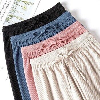 Women Ice silk High Waist Pants Summer Silk Knitted Straight Trousers 2020 StudentLoose Casual Long Leg Soild Color